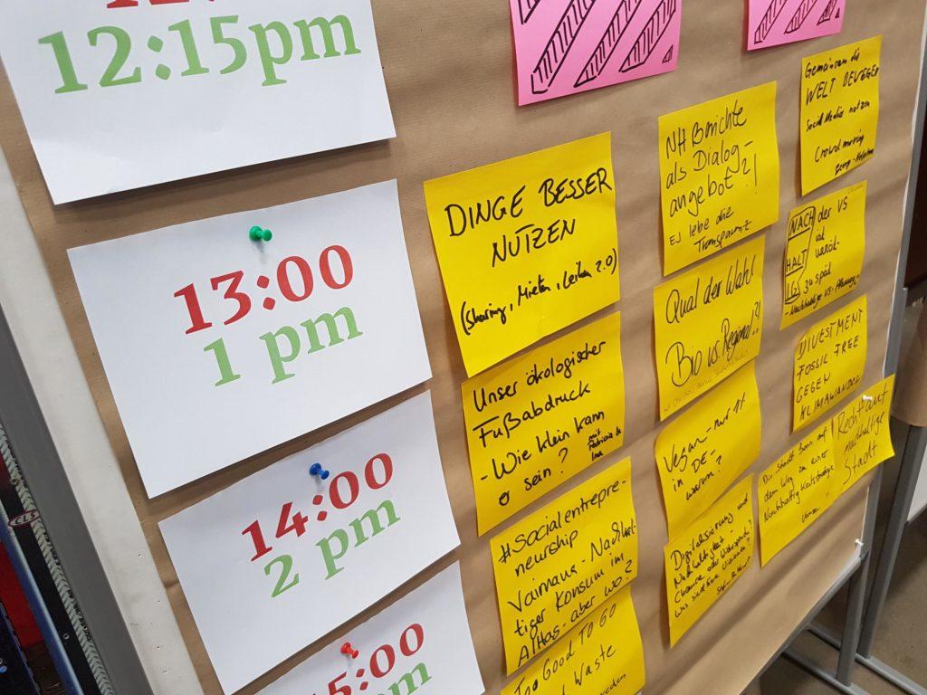 Ein klassischer Zeitplan eines Barcamps